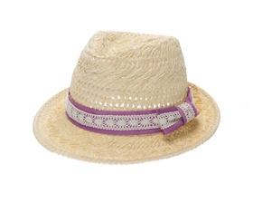 wholesale hand woven paper fedora  lace band