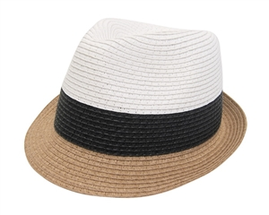wholesale 3-tone colorblock straw fedora