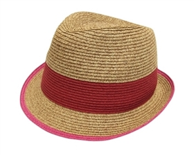wholesale straw fedora hats colorblock