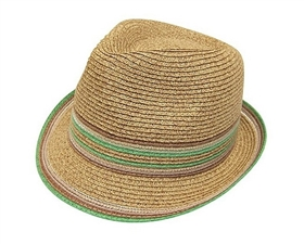 wholesale straw fedora  color stripes and edge