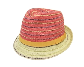 wholesale colorful 2-tone straw fedora
