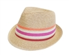 wholesale straw fedora hat stripes