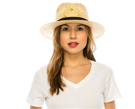 Wholesale Straw Panama Hats - Woven Toyo w/ Bow