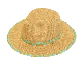 Wholesale Panama Hats - Straw with Braided Trim