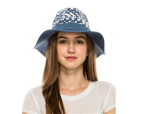Wholesale Women's Straw Panama Hats - Chunky Woven Crown