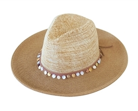 Wholesale Panama Hat - Natural Straw with Seashell Band