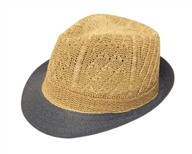 wholesale fedora hats straw natural knitted crown tight brim
