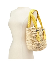 wholesale corn husk polka dot purse