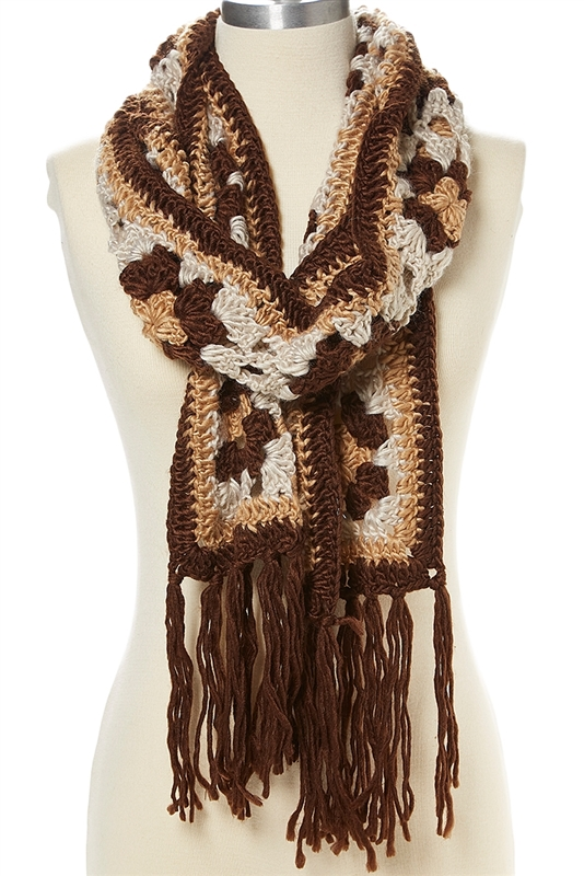 Scarf Knitting Styles : Wholesale vintage style accessories hand knit floral scarf