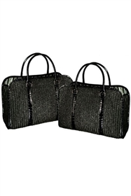 wholesale straw briefcase travel bags set of 2