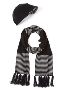 wholesale striped cabbie and scarf set