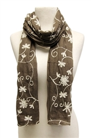 wholesale cotton scarf  little flower embroidery