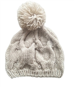 wholesale soft cable knit beanie  pom