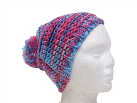 wholesale knit beanie with pom space dyed bright colors