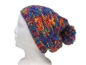 wholesale space dyed crisscross pom beanie