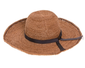 Wholesale Tan/Black Fine Raffia Crochet Sun Hat