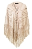 Wholesale Faux Suede Shawl with Fringe