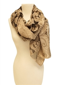 Wholesale Shawl with Jacquard Burnout Print