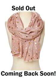 Wholesale Hearts Scarves - Gold Hearts Print Scarf