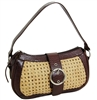 wholesale rattan shoulder bag  leather trim