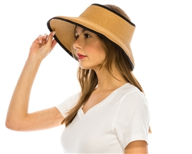 wholesale sun visors - roll up straw visor hat - packable travel hats