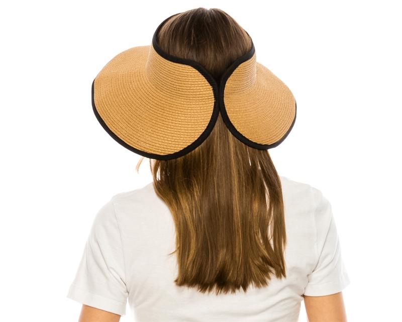 0298e190c16 148-1 Roll-Up Straw Visor with Contrast Trim