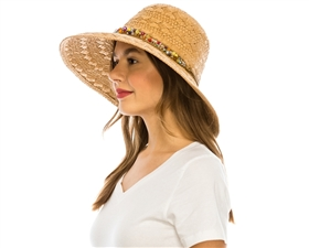 wholesale wide brim sun hat with beads