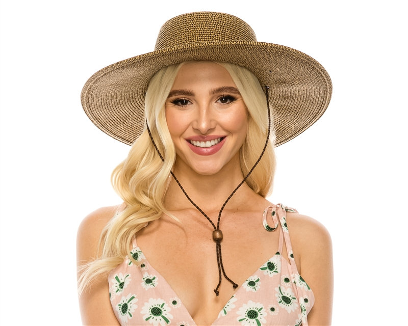 Wholesale UPF 50 Wide Brim Tweed Straw Sun Hats - Buckaroo Hat with ... 22dcfb56a92