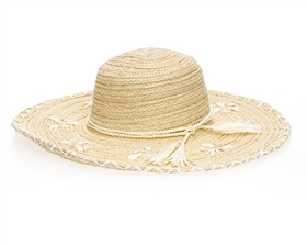 floppy straw sun hats wholesale wide brim seashells beach hat