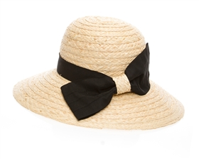 wholesale organic raffia straw sun hats with bow