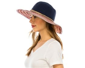 wholesale packable hats - red white blue ribbon crusher womens hat