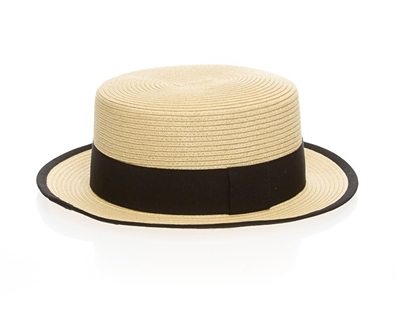 Wholesale Straw Boater Hats - Natural with Black Band