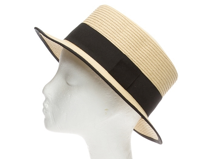 c1d5bcb6eb160c Wholesale Straw Boater Hats - Natural with Black band and trim