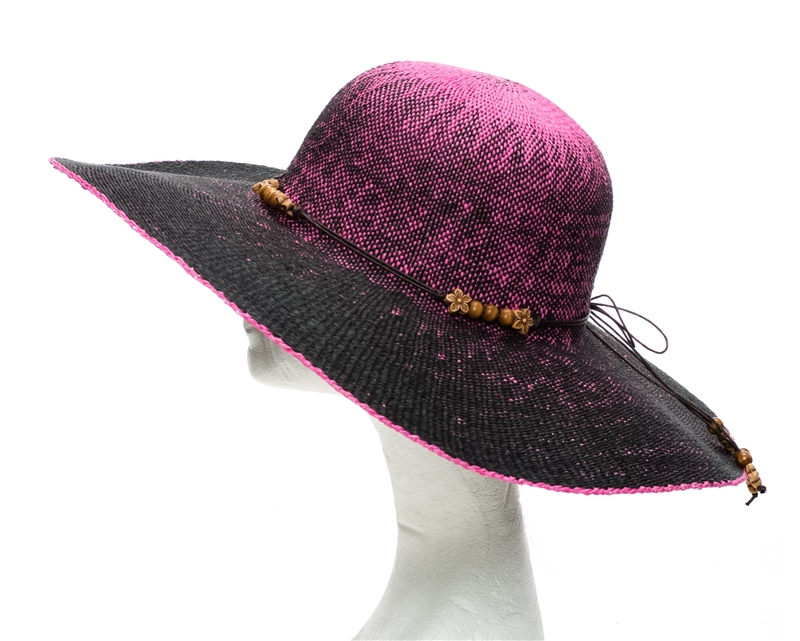Wholesale Ombre Straw Hats Neon Floppy Sun Hat With Wood