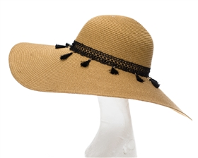 Wholesale Wide Brim Straw Sun Hat w/ Tassels