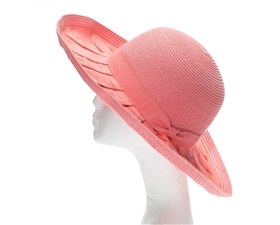 Wholesale Ribbon Hats - Packable Straw Hat w/ Bow