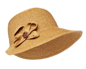 Wholesale Summer Straw Hats - Lampshade Hat w/ Side Flower