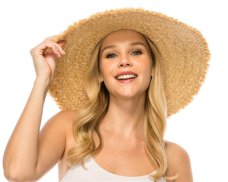 8a19311f0ca wholesale floppy hats raffia straw wide brim sun hat upf 50