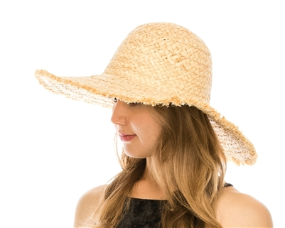 9f63c5ef035b8 Wholesale Raffia Straw Sun Hats - Fringe Wide Brim Hat