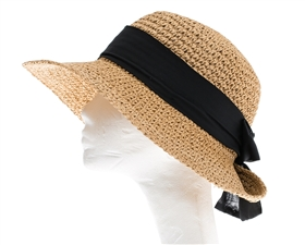 Wholesale Womens Straw Hats - ladies straw hats crochet sun hat w tie back sash