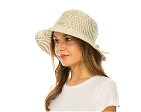 wholesale facesaver hat - split back striped ribbon bucket hat