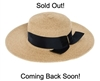 Wholesale Womens Straw Sun Hats Brass Bar Bow UV Protection