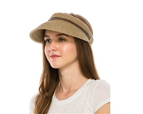 Wholesale Heathered Straw Sun Visors Adjustable Velcro Back Womens Visor Hat