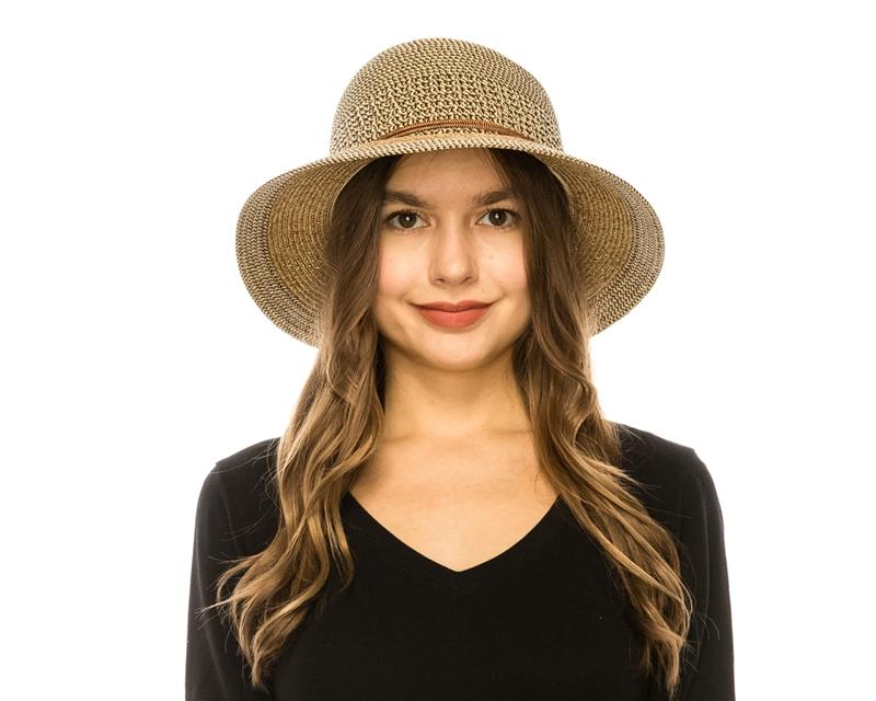 Wholesale Ladies Sun Hats Straw Bucket Hat Mixed Braid b1f1931be116