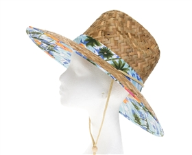 wholesale lifeguard hats - hawaii tropical print handwoven straw sun hats - chin cord