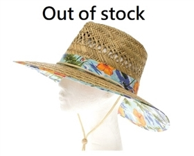 wholesale handwoven straw lifeguard hats tropical print