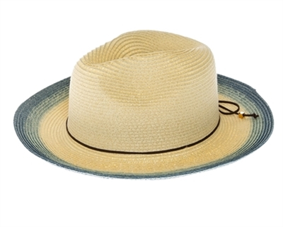 Wholesale Straw Summer Panama Hats - Bright Colors Dip Dyed Beach Hat