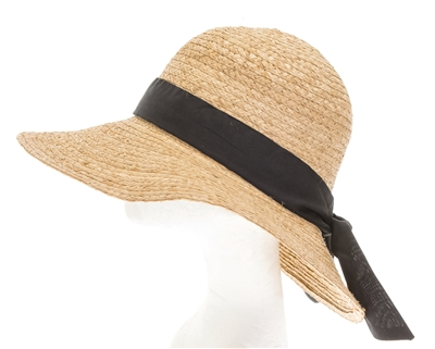 Wholesale Raffia Sun Hat w/ Black Bow Womens Beach Straw Sun Hat