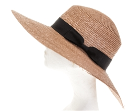 Wholesale Fine Straw Wide Brim Boater Hat Womens Beach Hat
