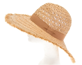 Wholesale Peekaboo Crown Raffia Sun Hat Womens Beach Hat